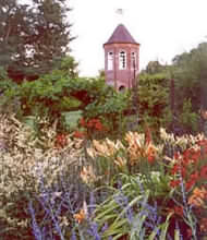 The 3 acre garden Penpergwm Lodge has been developed over the last twenty years